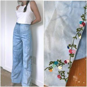 Vintage blue flower embroidered wide leg pants 27